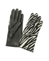 FORZIERI | Black Women's Zebra Pony Hair And Italian Nappa Leather Gloves | Lyst