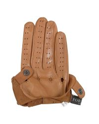 FORZIERI - Brown Women's Tan Perforated Italian Leather Driving Gloves - Lyst