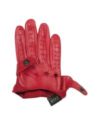 FORZIERI | Women's Red Perforated Italian Leather Driving Gloves | Lyst