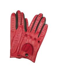 FORZIERI | Women's Red & Black Perforated Italian Leather Driving Gloves | Lyst