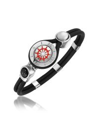 FORZIERI - Black Rudder & Compass Stainless Steel And Rubber Bracelet for Men - Lyst