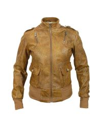 FORZIERI | Women's Brown Paisley Stamped Genuine Leather Jacket | Lyst