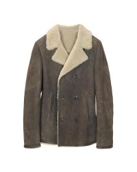FORZIERI | Brown Double Breasted Shearling Jacket | Lyst