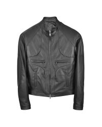 FORZIERI | Black Italian Leather Motorcycle Zip Jacket for Men | Lyst
