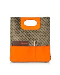 Gherardini - Blue Julieta Millerighe Fabric And Eco Leather Flat Tote Bag - Lyst