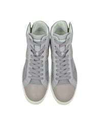 Hogan Rebel - R141 Gray Leather And Fabric High Top Sneaker for Men - Lyst