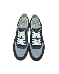 Hogan - H222 Navy Blue Suede And Mesh Sneaker - Lyst