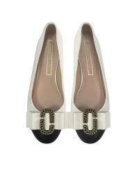 Marc Jacobs | White Ivory And Black Leather Interlock Round Toe Ballerina | Lyst