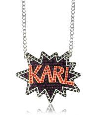 Karl Lagerfeld | White K/pop Glitter Necklace | Lyst
