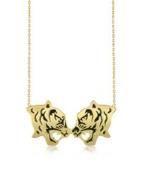 KENZO | Metallic Gold Plated And Black Lacquer Fighting Tiger Necklace | Lyst