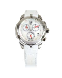 Tonino Lamborghini | Metallic Shield Lady Silver Tone Stainless Steel And White Croco Print Leather Chronograph Watch | Lyst