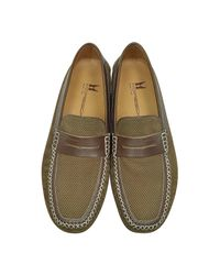Moreschi Bahamas Brown Perforated Nubuck Driver Shoes W/rubber Sole for men