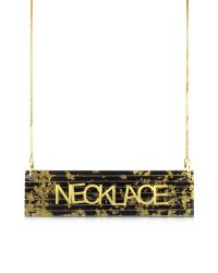MM6 by Maison Martin Margiela - Black & Gold Resin Necklace - Lyst