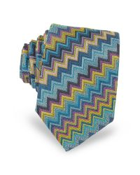 Missoni | Blue Diagonal Zig Zag Woven Silk Men's Narrow Tie for Men | Lyst