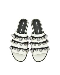 Proenza Schouler White Leather Open Toe Pom Pom Crochet Slide