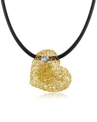 Orlando Orlandini - Yellow Arianna - Small Diamond Heart Pendant W/rubber Lace - Lyst