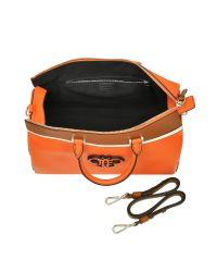 Emilio Pucci Orange Leather Boston Bag