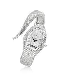 Just Cavalli - Metallic Poison Silver Serpent Bracelet Watch - Lyst