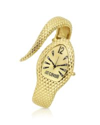 Just Cavalli | Gray Poison - Golden Serpent Bracelet Watch | Lyst