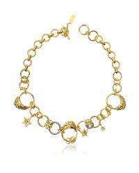 Roberto Cavalli - Metallic Circus Golden Metal Necklace W/crystals - Lyst