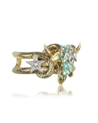 Roberto Cavalli - Metallic Goldtone Brass Bangle W/crystals And Beads - Lyst