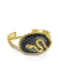 Just Cavalli - Black Amazonia Gold Plated Bangle Bracelet - Lyst