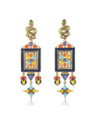 Roberto Cavalli - Metallic Brushed Gold-tone W Multicolor Beads Long Clip-on Earrings - Lyst