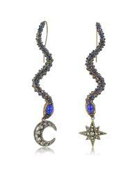 Roberto Cavalli - Snake Metal And Blue Stone Earrings - Lyst