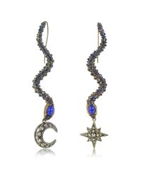 Roberto Cavalli | Snake Metal And Blue Stone Earrings | Lyst
