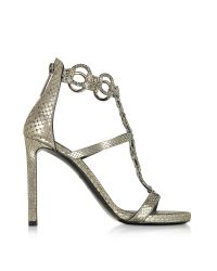 Roberto Cavalli - Natural Laminated Python Silver Sandal W/crystals - Lyst