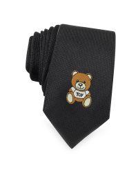 Moschino - Black Teddy Bear Solid Silk Jacquard Narrow Tie for Men - Lyst