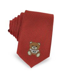 Moschino   Red Teddy Bear Solid Silk Jacquard Narrow Tie for Men   Lyst