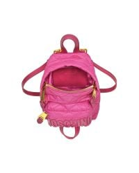 Moschino | Pink Fuchsia Quilted Nylon Mini Backpack W/logo | Lyst