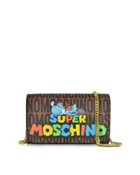 Moschino - Brown Super Mario Multicolor Printed Wallet Clutch W/chain Strap - Lyst