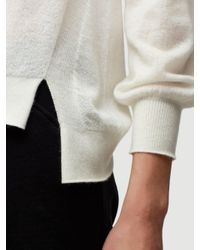 FRAME White High Low Cashmere Crew