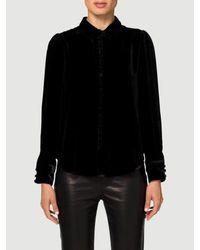 2236bf7c FRAME Velvet Victorian Blouse in Black - Lyst