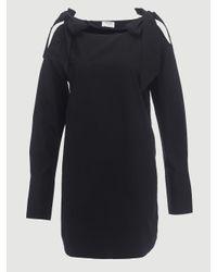FRAME Black Bow Shoulder Dress