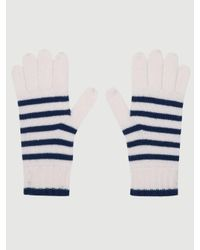 FRAME White Striped Cashmere Ski Gloves