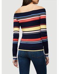 FRAME - Blue Stripe Shoulder Sweater - Lyst