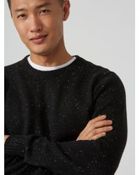 Frank And Oak - Wool-blend Donegal Sweater In Black Heather for Men - Lyst