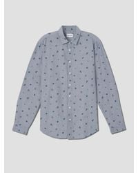 Frank And Oak Cocktail Print Oxord Shirt In Dark Ice Blue for men