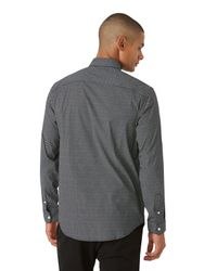 Frank + Oak Gray Micro Print Andover Stretch Dress Shirt In Black for men
