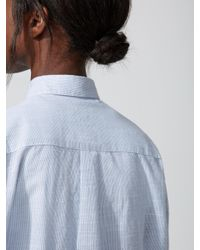 Frank And Oak Oversized Striped Cotton-voile Shirt In Light Blue