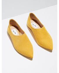 Frank And Oak Yellow Suede Babouche In Saffron for men