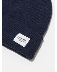 Frank And Oak - Blue Cotton-bouclé-knit Toque In Dark Sapphire - Lyst
