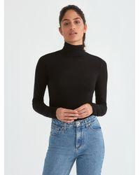 Frank And Oak - Wool-blend Mockneck Longsleeve Shirt In True Black - Lyst