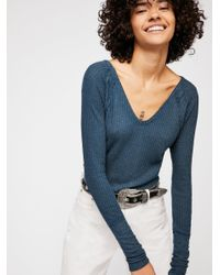Free People Blue We The Free Catalina Thermal Top