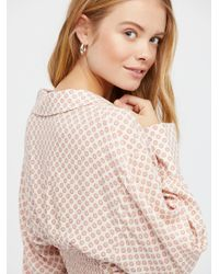 Free People - Black What You Need Printed Blouse - Lyst