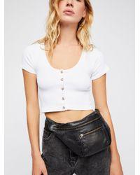 Free People - White Seamless Button Up Crop - Lyst