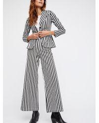 Free People Black Striped Twill Suit